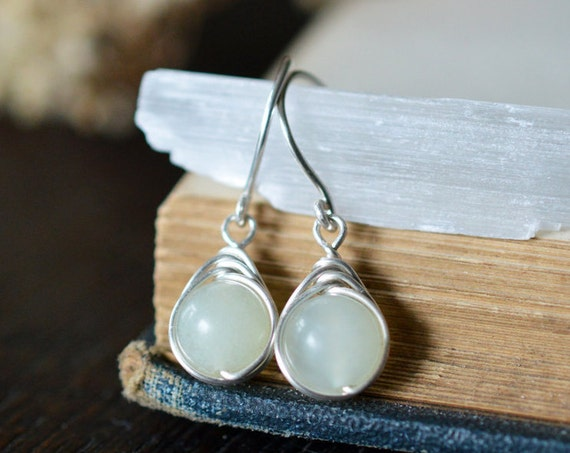 Chinese Jade Drop Earrings 925 - Wire Wrapped Drops - Sterling Silver - Attract Love, Money and Protection - Heart Chakra - May Birthstone