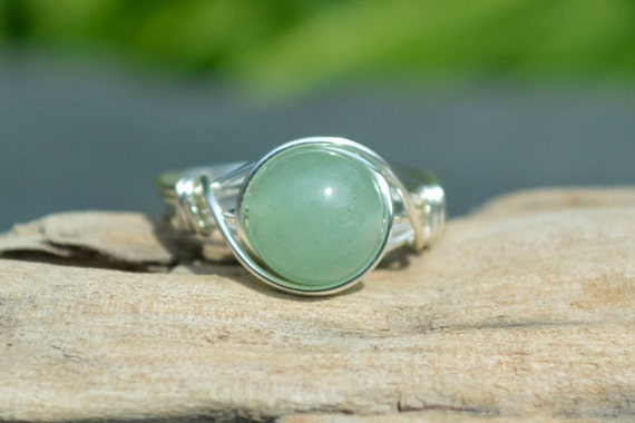 Aventurine Ring 925 - Wire Wrapped Ring - Green Stone Ring - Lucky Ring - Opportunity, Prosperity, Wealth - The Ivy Bee