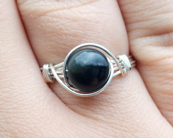 Rainbow Obsidian Ring 925 - Wire Wrapped Ring - Black Ring - Rare Gemstone - Stone of Pleasure - Unusual Gemstone Ring - The Ivy Bee