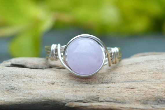 Lavender Amethyst Ring 925 - Wire Wrapped Ring - Calm, Balance, Patience and Peace - Sobriety - Boho Ring - Elven Ring - February Birthstone