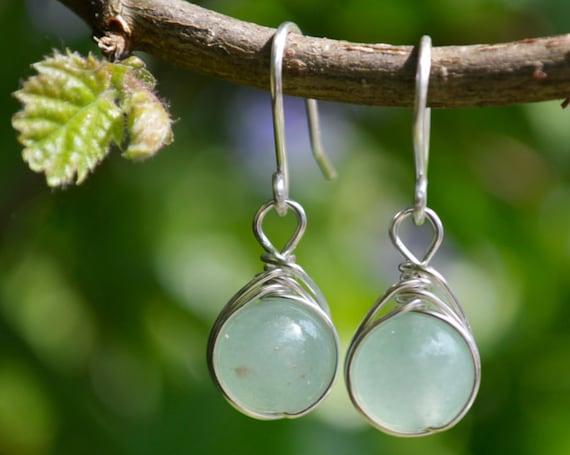 Aventurine Drop Earrings 925 - Wire Wrapped - Sterling Silver - Lucky Earrings - Opportunity, Prosperity, Wealth - Virgo