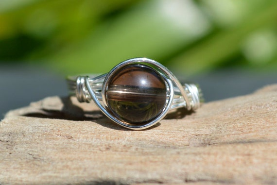 Smoky Quartz Ring 925 - Wire Wrapped Ring - Protective, Grounding and Stabilising - Boho Elvish Style - Capricorn, Libra