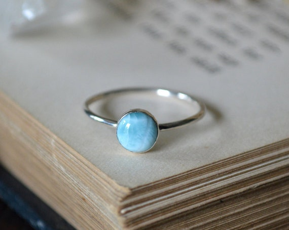 Larimar Ring 925 - Stacking Ring - Dainty Ring - Stone of Atlantis - Harmony and Ancient Wisdom
