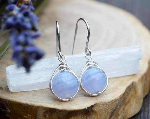 Blue Lace Agate Earrings 925 - Wire Wrapped Drop Earrings - Sterling Silver - Soothing, Anxiety Calming Crystal - Scorpio