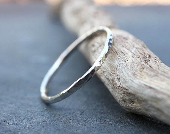 Texture Stacking Ring - Hammered Sterling Silver Stacking Ring - 1.3mm Stackable Rings - Single Ring - The Ivy Bee
