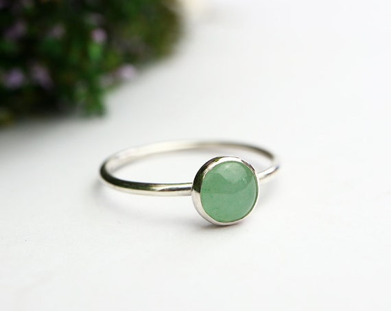 Aventurine Ring 925 - Minimalist Stacking Ring - Sterling Silver - Lucky Ring - Opportunity, Prosperity, Wealth - May Birthstone
