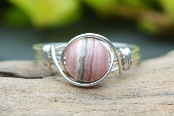 Rhodochrosite Ring 925 - Wire Wrapped Ring - Pink Ring - Inca Rose Ring - Stone of Love and warmth - Unusual Gemstone Ring - The Ivy Bee