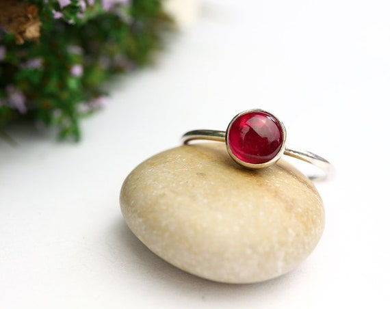 Ruby Stacking Ring 925 - Sterling Silver Ruby Ring - Ruby Red - Stone of Nobility and Purity - July Birthstone