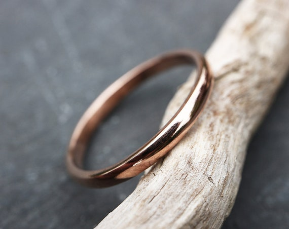 Solid 9ct Rose Gold Ring - 2.3mm Half Round Wedding Band - Traditional Simplistic Rose Gold Ring - Classic Style-  The Ivy Bee