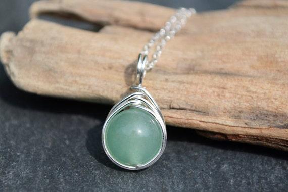 Aventurine Pendant 925 - Green Lucky Gemstone Necklace - Opportunity, Prosperity, Wealth - Virgo