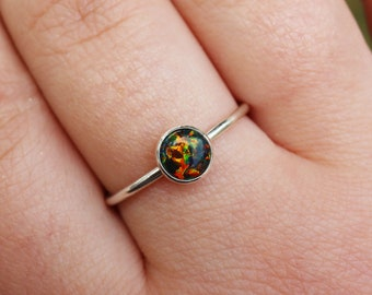 Black Opal Ring 925 - Stacking Ring - Inspiration & Creativity -  Multicolour Opal - Alternative Engagement - October Birthstone