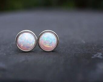 3a794f00c White Opal Earrings 925 - Minimalist Studs - Inspiration & Creativity -  Multicolour Fire Opal - Wedding Bridesmaid Gift - October Birthstone