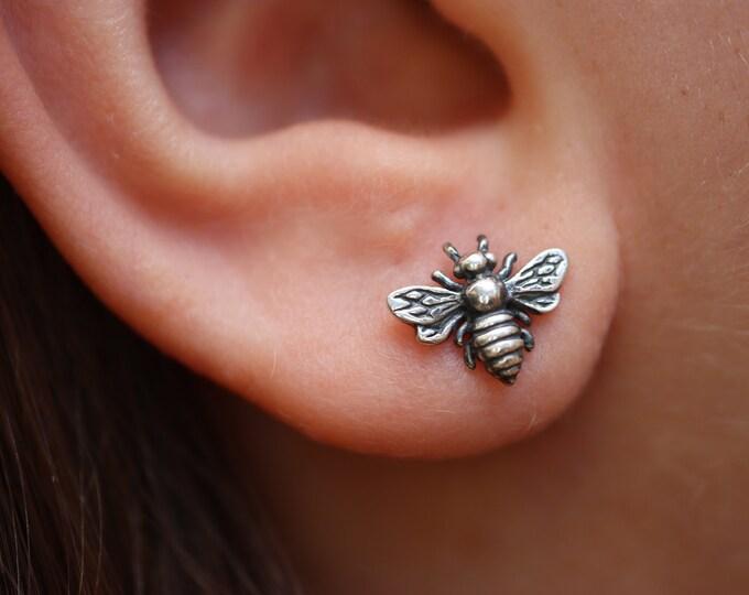 Featured listing image: Antiqued Bee Stud Earrings - Sterling Silver 925 - Everyday Bee Studs - Honey Bee Earrings - The Ivy Bee