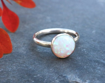 Chunky Opal Ring 925 - 10mm Statement Ring - Inspiration & Creativity - Multicolour  Opal - Alternative Engagement - October Birthstone