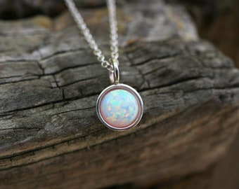 Opal Necklace 925 - Everyday Pendant - Sterling Silver - 6mm Multicolour  Opal - Multicolour Opal Necklace - White Pink Blue Black Opal