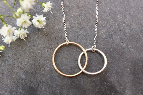 Infinity Ring Necklace - 9ct Solid Gold and Sterling Silver - Eternity Open Circle Necklace - Two Ring Necklace - Interlocking Rings