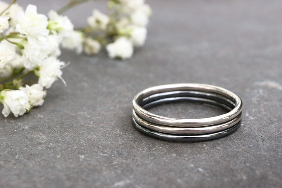 Ombre Stacking Ring Set - 1.3mm Sterling Silver - Oxidized Antique Ring - Simple Stacking Ring - Spacer Thin Ring - The Ivy Bee