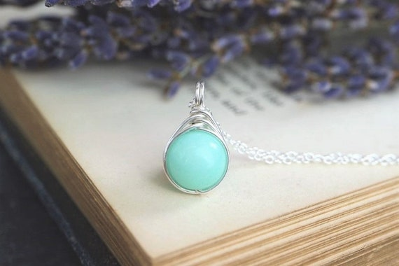 Amazonite Necklace Pendant 925 - Wire Wrapped - Sterling Silver - Soothing Cleansing Stone - Success and Abundance - The Ivy Bee