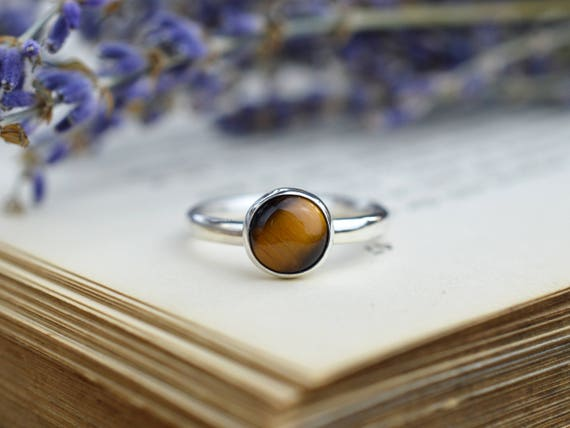 Tigers Eye Ring 925 - Stacking Ring - Dainty Ring - Harmony, Creativity and Balance - Gemini Birthstone
