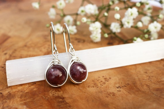 Lepidolite Drop Earrings 925 - Wire Wrapped Earrings - Calming & Balance - Depression and Anxiety - The Ivy Bee