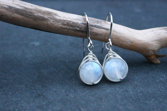 Rainbow Moonstone Earrings 925 - B GRADE - Wire Wrapped Drop Earring - Feminine Dainty - Healing Psychic Crystal - Ethereal - The Ivy Bee