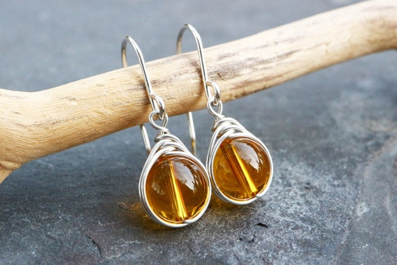 Citrine Earrings Wire Wrapped 925 - Sterling Silver - Drop Earrings Yellow Quartz - Success, Personal Power - November Birthstone