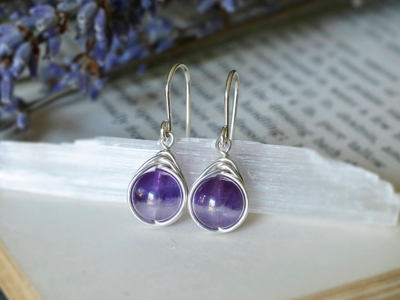 Chevron Amethyst Earrings 925 - Wire Wrapped Drop Earrings- Sterling ...