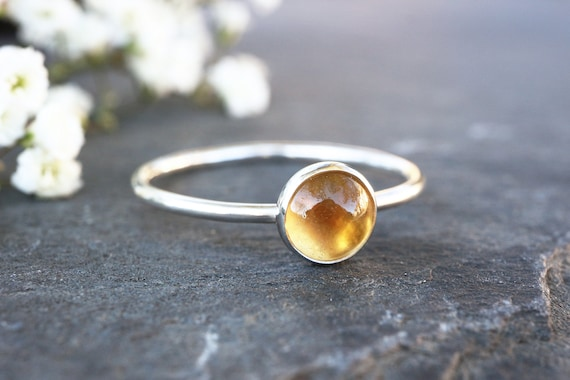 Citrine Ring 925 - Stacking Ring - Dainty Ring - Success, Personal Power - November Birthstone