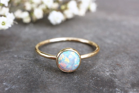 Solid 9ct Gold Opal Ring - Opal Stacking Ring - 6mm Alternative Engagement Ring - October Birthstone