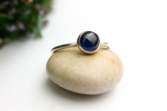 Blue Sapphire Ring 925 - September Birthstone - Royal Blue - Sterling Silver Stacking Ring - Ring Unusual Sapphire RIng