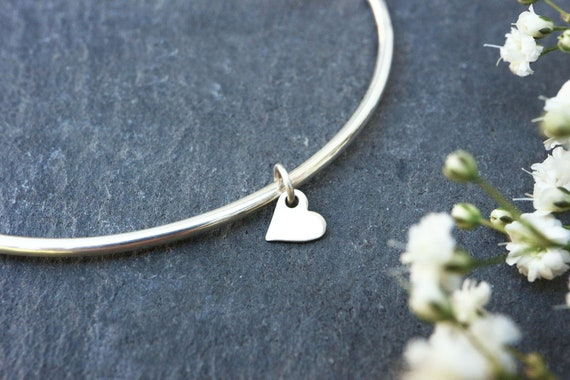 Heart Charm Bangle - 2mm Thick Sterling Silver Stacking Bangle - Slim Bangle - Stacker Bracelet - Bangle Minimalist - Layering Bracelet
