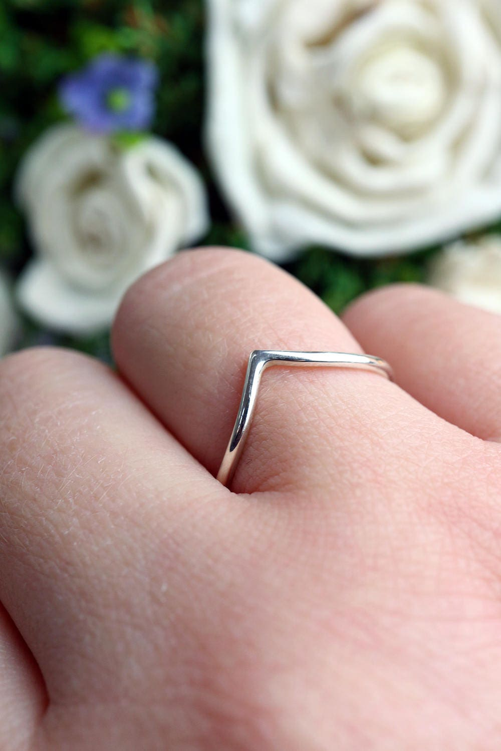 Silver Chevron Ring - 925 Sterling Wishbone Ring - Wave Knuckle Ring ...