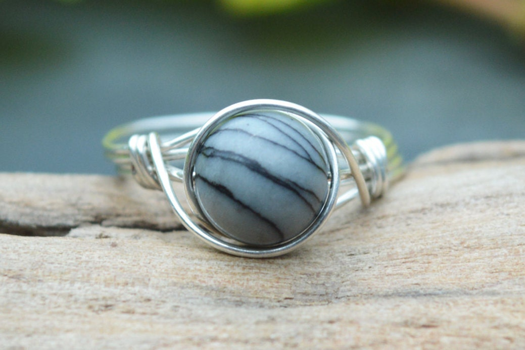 Picasso Jasper Ring 925 - Wire Wrapped Ring - Black and White Ring ...