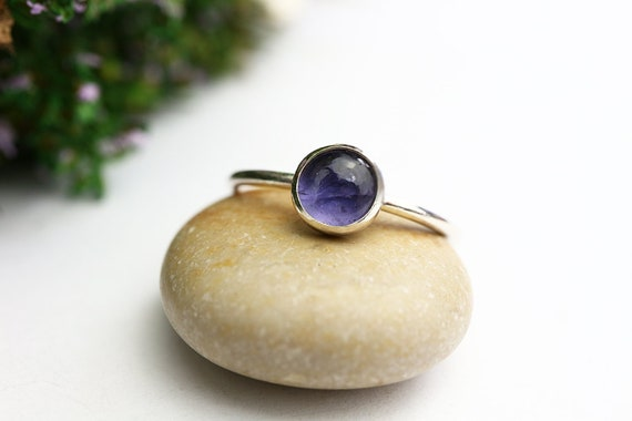 Iolite Ring 925 - Sterling Silver Stacking Ring - Blue Stone - Third Eye and Throat Chakra - Violet Gemstone