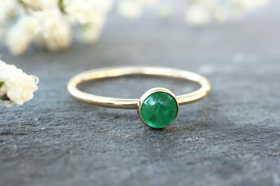 Natural Emerald Ring 9ct Gold - May Birthstone Ring - Solid 9ct Yellow Gold - 4mm Gemstone Ring - Gift for Her - The Ivy Bee