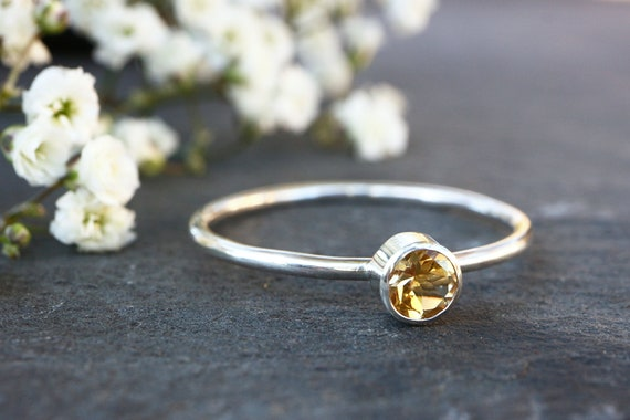 Faceted Citrine Ring 925 - 4mm Yellow Gemstone Stacking Ring - Dainty Ring - Success, Personal Power - November Birthstone