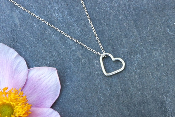 Heart Necklace - Sterling Silver Heart Outline Necklace - Free Floating Heart Necklace - Valentines Day Lovers Present - Handmade Heart