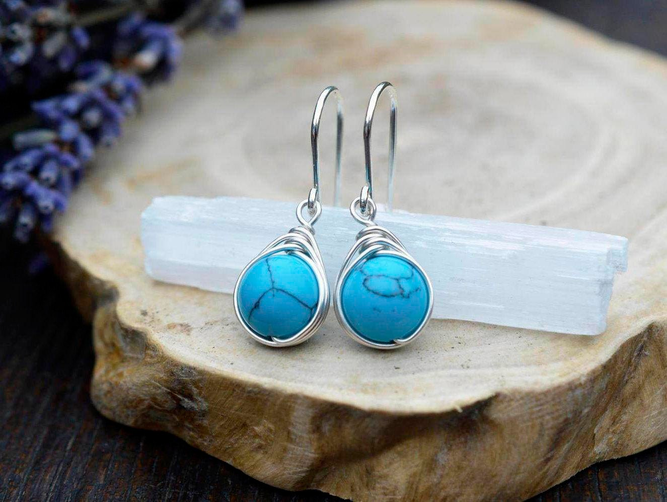 Turquoise Earrings 925 - Wire Wrapped - Boho Elven Style - Dangle ...