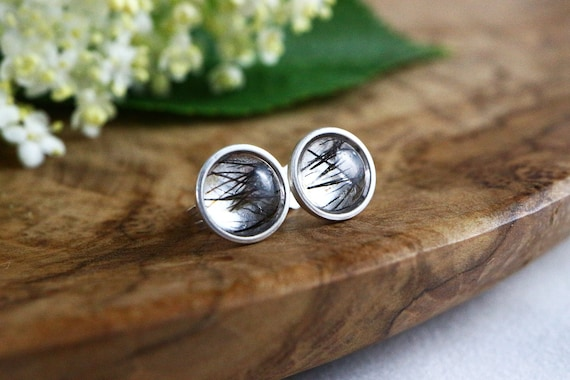 Tourmalated Quartz Stud Earrings 925 - Black Tourmaline in Quartz Earrings - Black Rutile Studs - Negative Energy Shield - The Ivy Bee