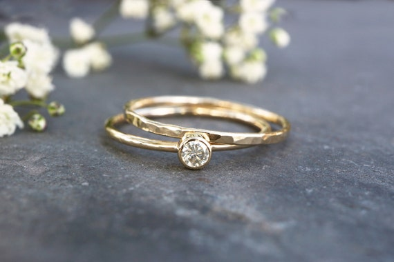 9ct Gold Diamond Ring - Moissanite Diamond Stacking Ring - Yellow Gold Wedding Ring Set - April Birthstone - Engagement Ring