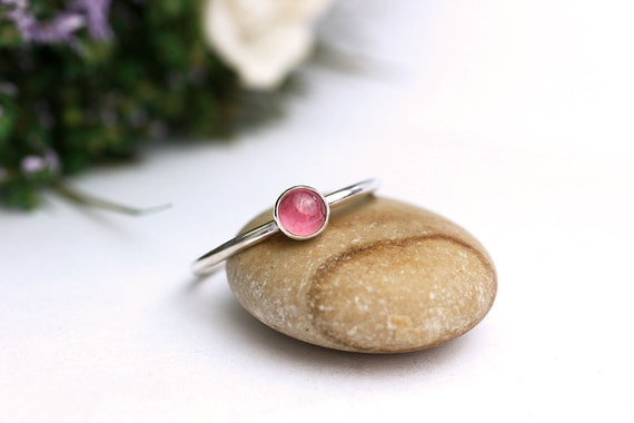 Pink Tourmaline Ring 925 - Stacking Ring - Rubellite Ring - Pink Ring - Heart Chakra - October Birthstone - 4mm Gemstone