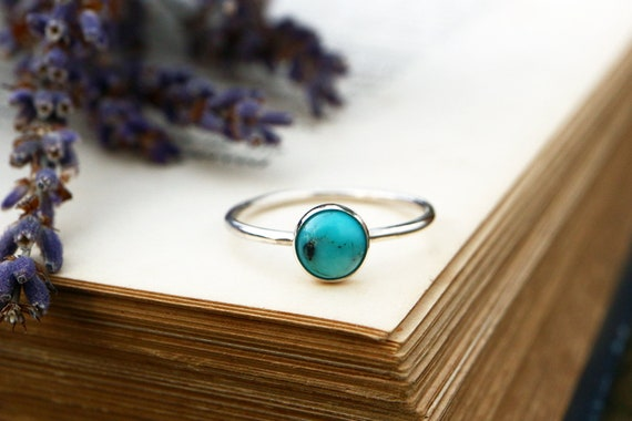Turquoise Ring 925 - Stacking Ring - Blue Ring - Dainty Ring - December Birthstone - The Ivy Bee