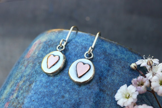 Organic Silver Heart Pebble Earrings - Love Heart Accent Drops - Rustic Handmade - Recycled Sterling Silver 925 - The Ivy Bee
