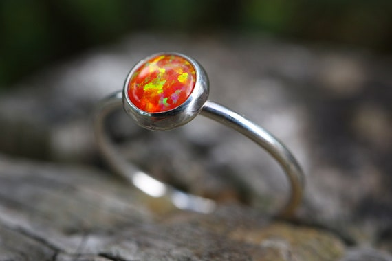 Orange Fire Opal Ring 925 - Mexican Opal Stacking Ring - Inspiration & Creativity - Fire Opal - Alternative Engagement - October Birthstone