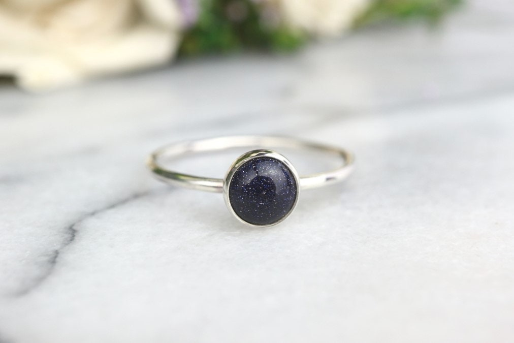 89931b200b5a3 Blue Goldstone Ring 925 - Stacking Ring - Sunstone - Stone of Ambition