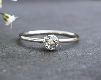 Faceted Topaz Ring 927 - 4mm Tube Set White Topaz Stacking Ring - Alternative Engagement Ring - November Birthstone