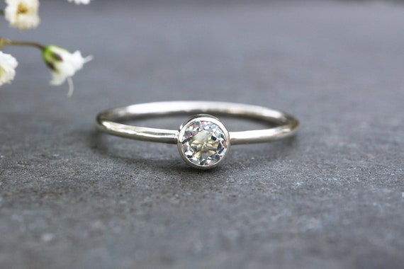 Faceted Topaz Ring 925 - 4mm Tube Set White Topaz Stacking Ring - Alternative Engagement Ring - November Birthstone