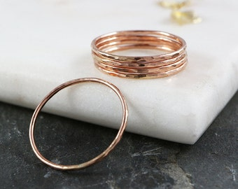 Super Thin Stacking Ring Hammered - Single 14kt Rose Gold Filled Stacking Rings - 1mm Stackable Rings - Gold Ring - The Ivy Bee