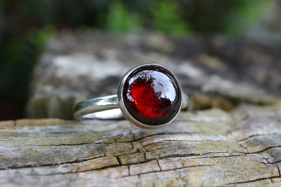 Chunky Garnet Ring 925 - Blood Red Ring - Sterling Silver - Energizing, Regeneration - January Birthstone