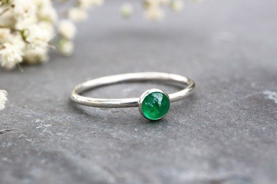 Natural Emerald Ring - May Birthstone Ring - Sterling Silver Stacking Ring 925 - 4mm Gemstone Ring - Gift for Her - The Ivy Bee